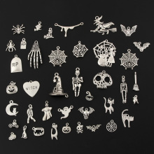 40pcs Mix Silver Color Halloween Pumpkin lantern Charms Witch Hat Ghost Pendants Collection DIY Handmade Jewelry Accessorie M222