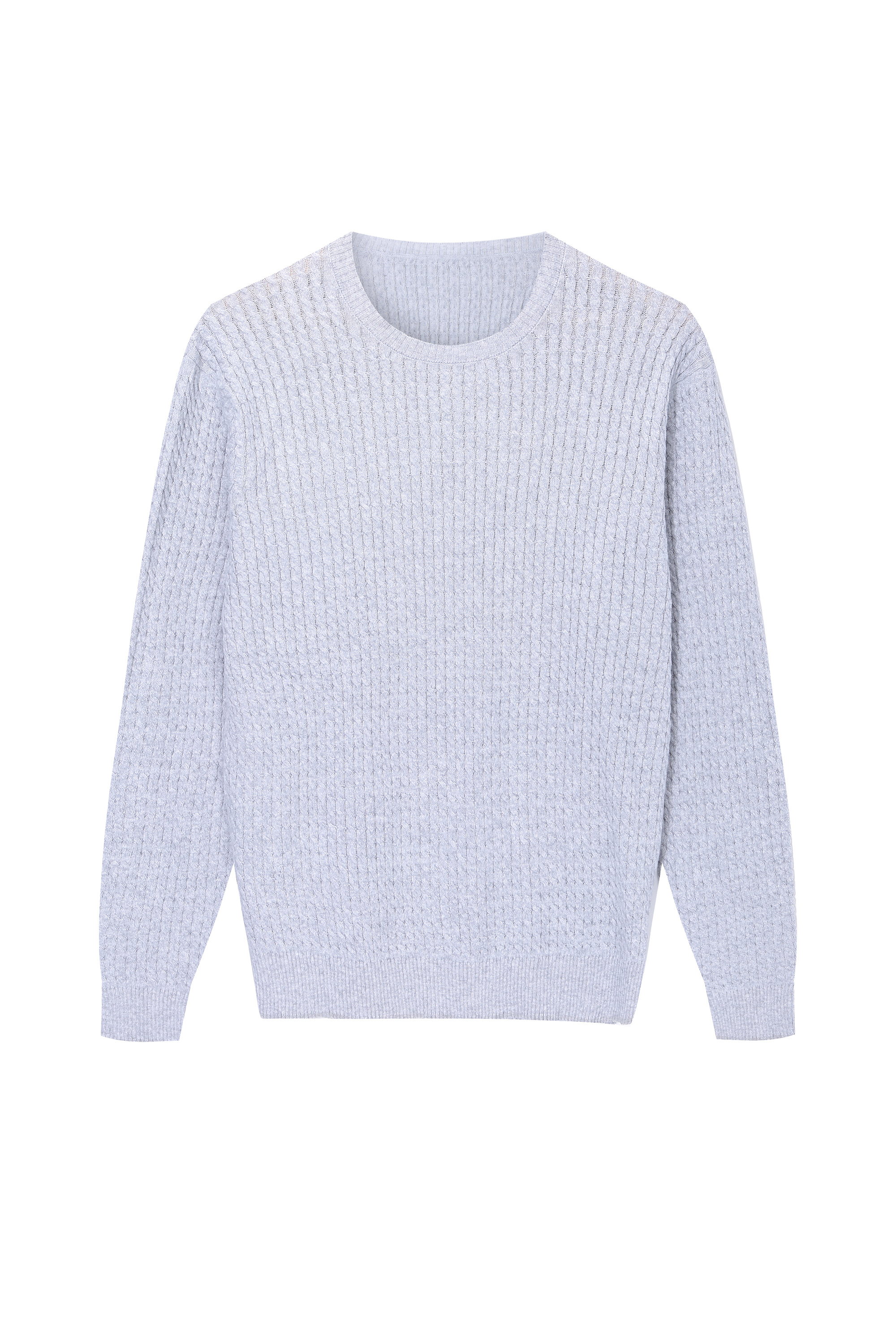 Men's Knitted Soft cotton Cable Crewneck Sweater