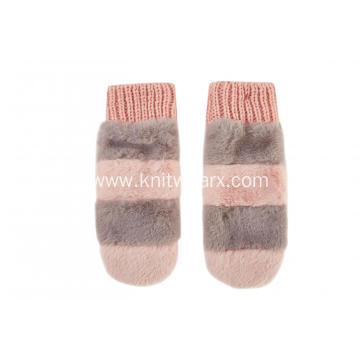 Girl's Knitted Faux Fur Strip Mitten Gloves