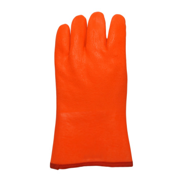 Fluorescent orange pvc gloves
