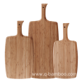 Solid bamboo cutting board with handle
