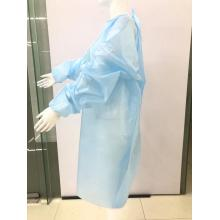 Blue Disposable Waterproof Isolation Gown Apron with Tie Waist FDA Level 2 PP+ TPU