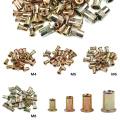 100Pcs Carbon steel Rivet Nuts M4 M5 M6 M8 Flat Head Rivet Nuts Set Nuts Insert Riveting Mix Set