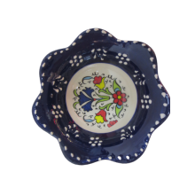 Hand Made Tile Patterned Daisy Shaped Kaolin Clay Quartz Limestone Bowl 8cm Navy Blue Colored Old Turkish Pattern Healty Gift