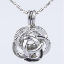 Silver Plated Rose Flower Cage Pendant