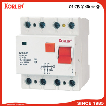 Residual Current Circuit Breaker KNL6-63 10KA CE 4P