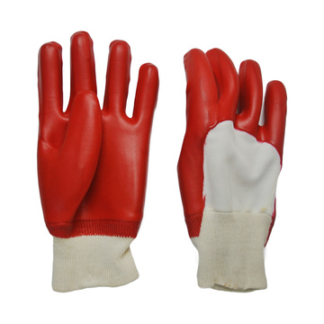 Red PVC coated gloves smooth finish open back