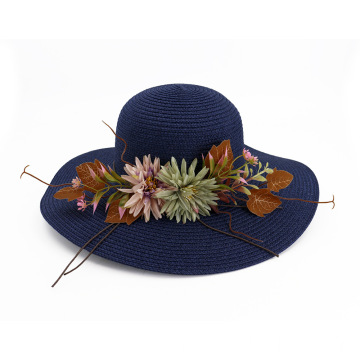 Beauty flower straw hat portable sun beanie cap