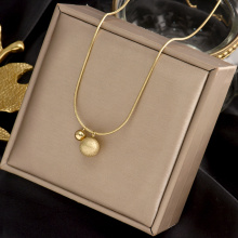 Stainless Steel Gold Round Matte Ball Choker Necklaces Jewelry Pendant Snake Chain Necklace For Women