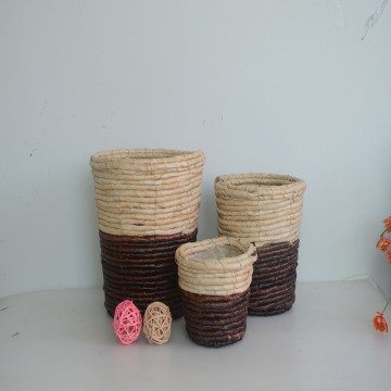 Round two tone maize rope flower basket