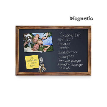 Torched vertical horizontal magnetic wall mounted chalkboard