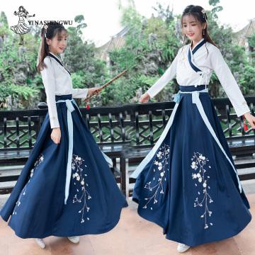 Hanfu Dress Fairy Skirt Fresh and Elegant Huaqing Pavilion Mulher Women Plum Costume Improved Hanfu Stage Clothing Chinese Style