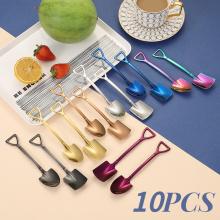 10PC Stainless steel Shovel coffee spoon Set Scoop shovel Creative tea-spoon Ice Cream dessert spoon Birthday Gift Tableware