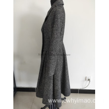 Lady new fashionable tweed coat with belt