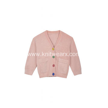 Women's Knitted Button Down Pocket Warm Melange Cardigan