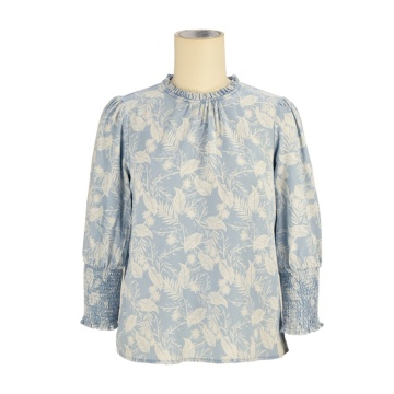 Hot selling blouse shirt designs vintage washed long sleeve fashion brand cotton women's t-shirts