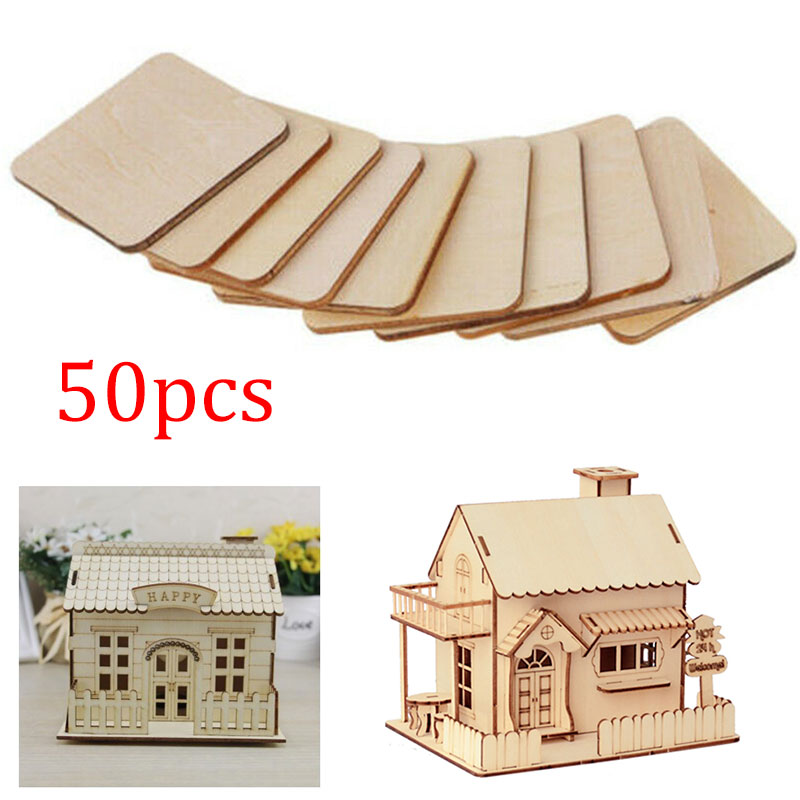Icosy 50pcs 30mm 1.18inch Log square graffiti Board Coaster Log Coaster Rounded Square Round Wood Chip DIY Wooden
