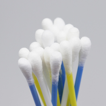 Double Tipped  Plastic Yellow White Cotton Swab
