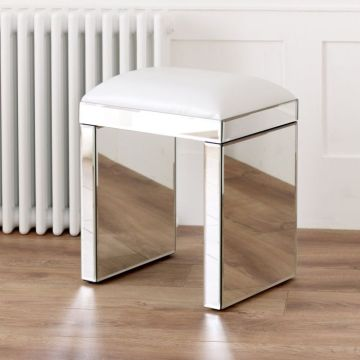 Venetian Mirrored Stool with White Seat Pad