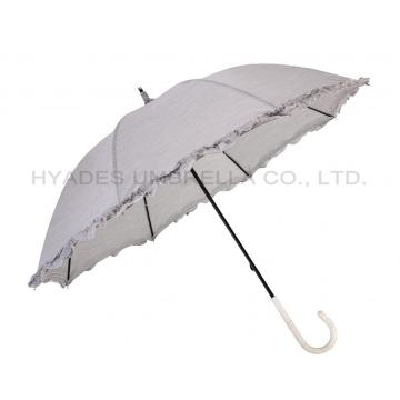 Ruffle Lace Women's Manual Open Straight Umbrella