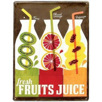 Keystone Emboss Plate Kiwi Orange Papaya Fresh Fruits Juice Cafe Tin Sign Board 8x12 Inch Metal Wall Panel