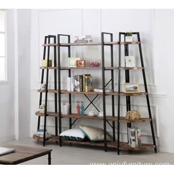 Furniture 5 Shelf Industrial Corner Bookcase and Shelf, A-Shaped Display Corner Storage Rack Bookshelf-70-Inch, Vintage Brown