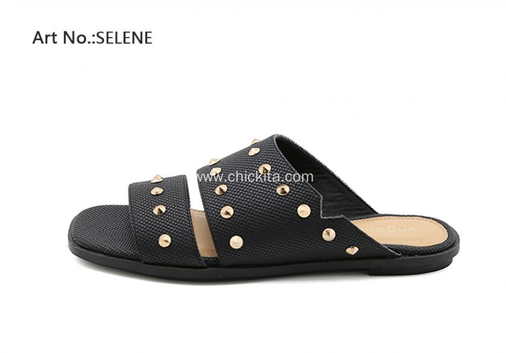 Ladies Black/White/Beige Wide Flats Rivet Sandals