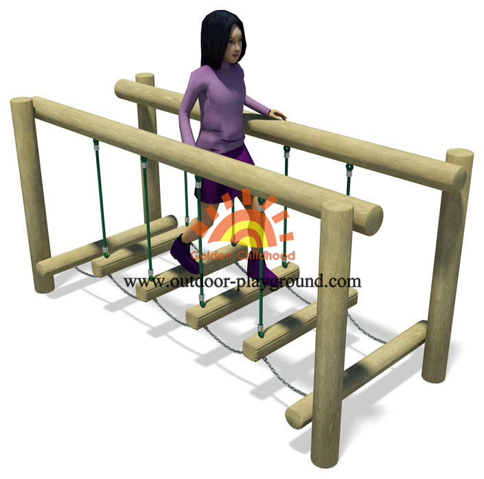 Wooden-rope balance bridge playground