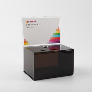 Acrylic Ballot Box With Header And Lock Black