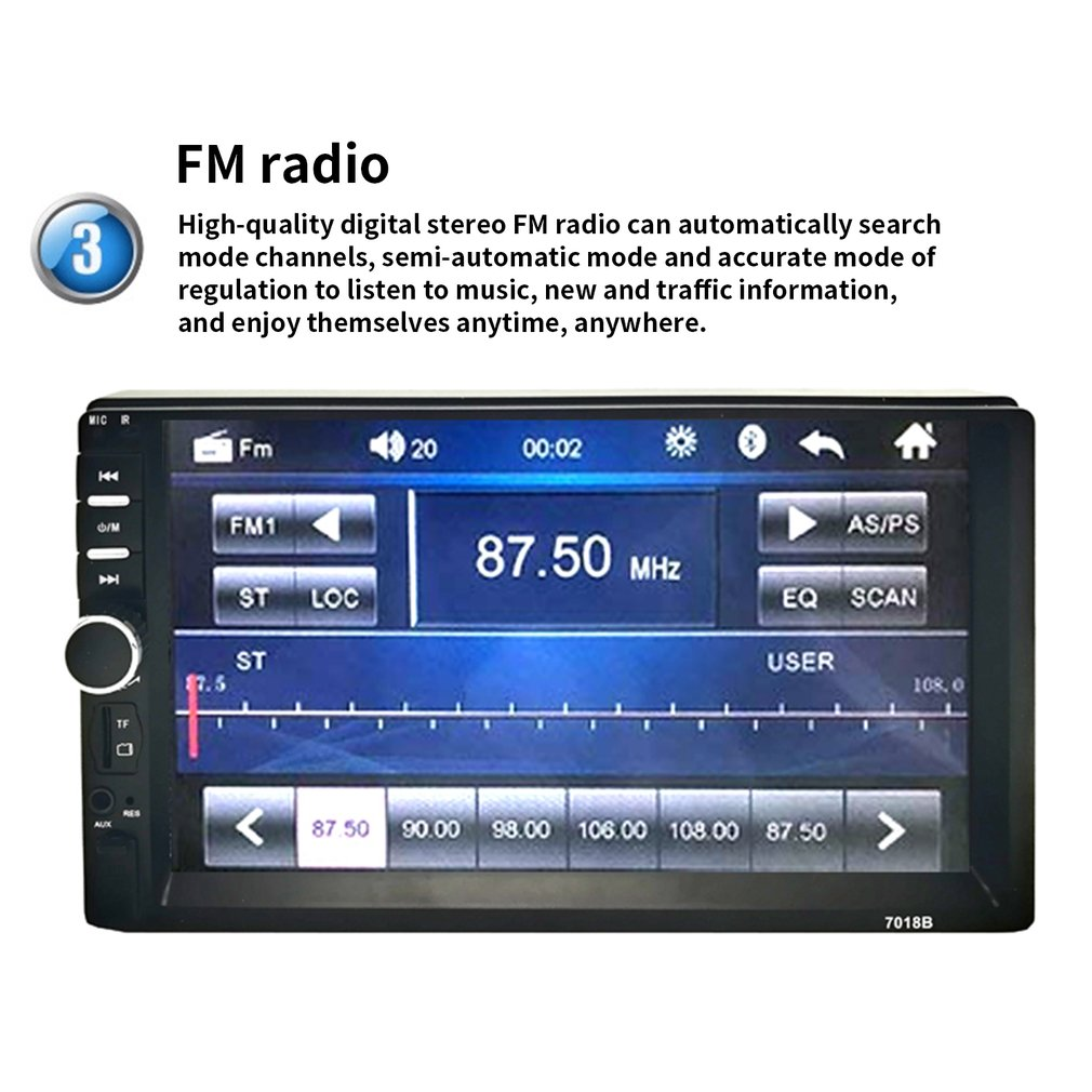 2 Din MP5 Player 7 Inch LCD Touch Screen Auto FM Radio Video Player Music Audio With USB Support Rear Camera