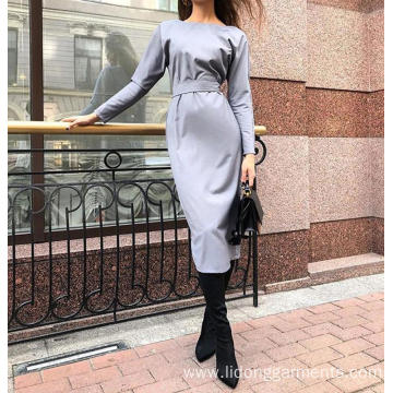 Wear New Fashion Solid Color Women Button Dress