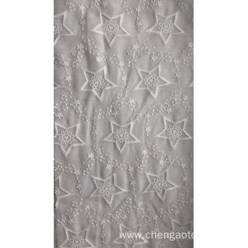White Pentagon Cotton Embroider Fabric