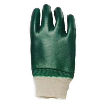 Green PVC Smooth Finish. Industrial gloves Knit Wrist