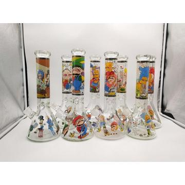 Lovely Multiple Cartoon Charactor Decal Glass Beaker Bongs