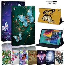 Butterfly Leather Stand Tablet Cover Case for Samsung Galaxy Tab A A6 /Tab E S5E Durable Tablet PC Protective Case Shell