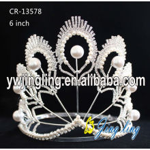 Pearl Silver Peacock Princess Pageant King Crown