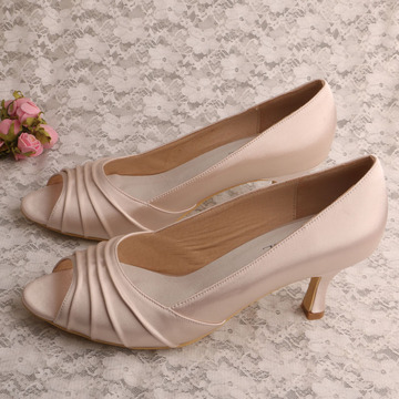 Open Toe Bridal Shoes with Block Heel