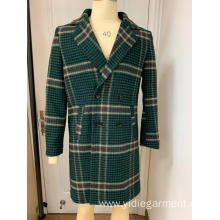 Men's Long Green Houndstooth Coat