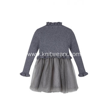 Girl's Knitted Ruffled Neck Silver Crepe Winter Dress