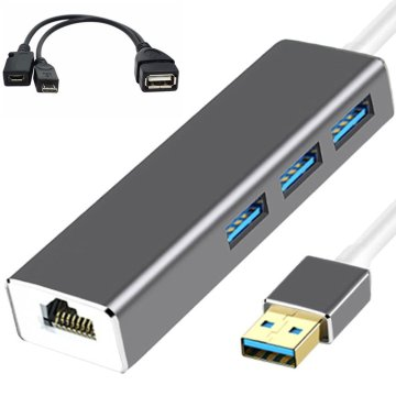 3 USB HUB LAN Ethernet Adapter + OTG USB Cable for Fire Stick 2ND GEN or Fire TV3 TV Stick 1080P (full-hd) Not Included ONLENY