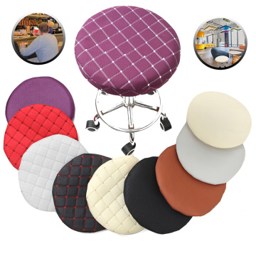 Round Chair Cover Bar Stool Solid Color Elastic Seat Protector Cotton Fabric Seat Chair Covers for Home Slipcovers