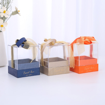 Square cardboard candle jar boxes packaging with clear lid