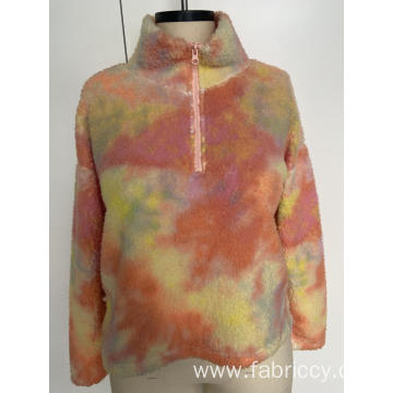 Semi-high collar printed hoodie