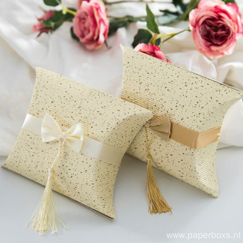 Custom Printed Pillow Wedding Candy Paper Packaging Box