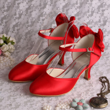 Mid Heels Red Bridesmaid Shoes with Bowtie