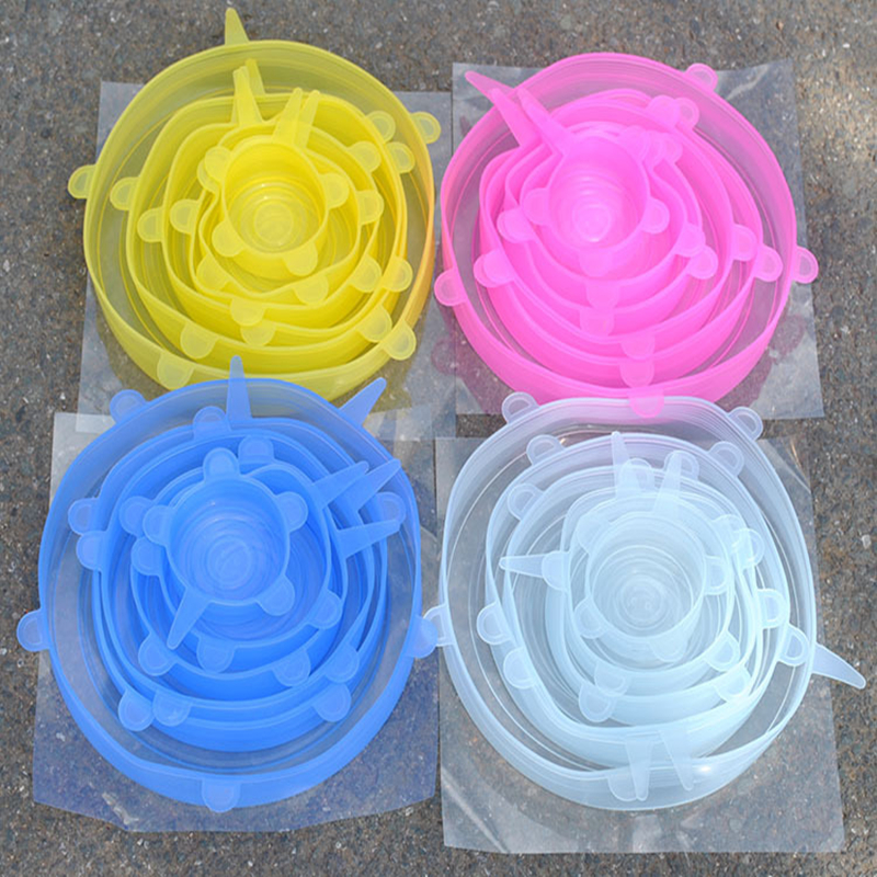 6/12Pcs Stretchable Silicone Lids Reusable Universal Food lids Cover Kitchen Reusable Washable Silicone Food Wrap Lid