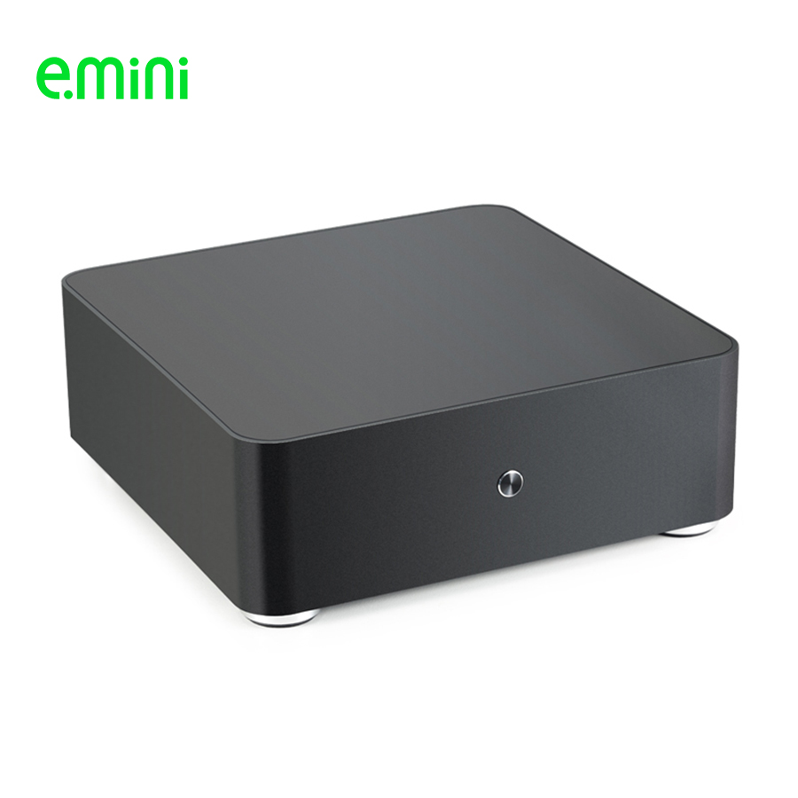 E.MINI H65S Mini ITX Computer Case Aluminum Desktop Server PC Chassis With Two USB2.0 For Office Support OEM