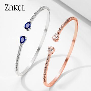 ZAKOL Luxuriously Women Wedding Party Adjustable Opening Bracelet Cubic Zirconi Bracelets Bangles Jewelry Gifts FSBP2218