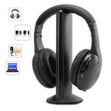 top selling 5in1 Hi-Fi Wireless Headphones Earphone Headset for PC Laptop TV FM Radio MP3 Support Wholesale and Dropshipping