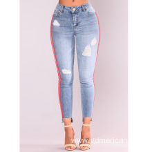 Side Stripe High Elasticity Super Skinny Women Jeans